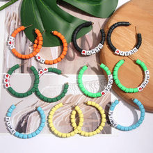 New Fashion Big Colorful Round Boho Hoop Earrings for Women Brand Handmade Metal Cute Heart Large Loop Earring Party Accessories 2019 new jewelry fashion wolf cute cat design party hook earring colorful round drop earrings accessories for women pretty gift