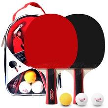 2 шт./лот ракетка для настольного тенниса с двойным лицом, прыщи в длинной ручке, ракетка для пинг-понга, набор с сумкой, 3 мяча