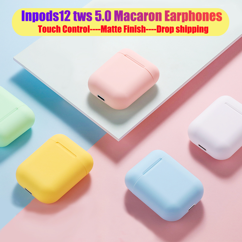 Macaron <font><b>i12</b></font> <font><b>tws</b></font> Wireless Earphones Bluetooth 5.0 Headphones Headset <font><b>Original</b></font> Touch Pop-up True Stereo Earbuds Earpiece for phone image