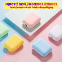 Macaron i12 tws sans fil écouteurs Bluetooth 5.0 casque casque Original tactile Pop-up véritable stéréo écouteurs écouteur pour téléphone