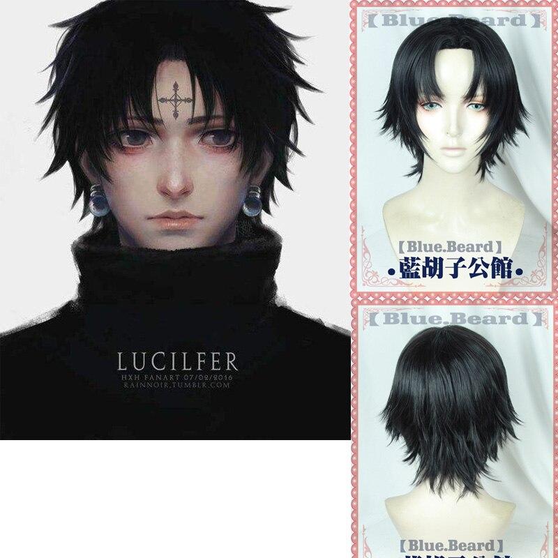 Hunter X Hunter Kulolo lushilufelu Black Short Wig Synthetic Cosplay Halloween Hair + Wig Cap