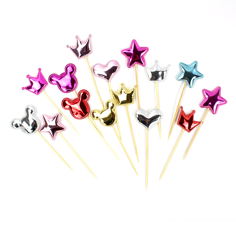 5pcs lot Cake Topper Golden Color Heart Star crown mickey Cupcake Toppers Birthday Party Decorations Kids Wedding Cake Toppers in Ballons Accessories from Home Garden