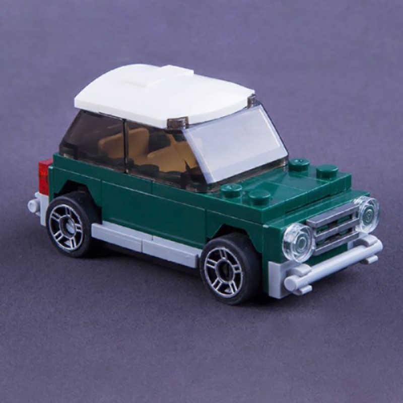 Legoing City szczęśliwe życie Mini klasyczny samochód kwiat róży figurki klocki zabawki dla dzieci montażu samochód miejski bloki Kid prezent