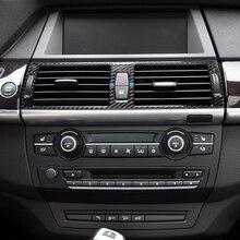 цена на Carbon Fiber Car Center Console Air Conditioning Outlet Frame Covers Trim for BMW X5 E70 X6 E71 2008-2014 Car Accessories