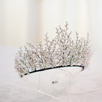 New Vintage Luxury Pearl Tiara Crown Wedding Hair Accessories Bridal Party Jewelry Big Headbands
