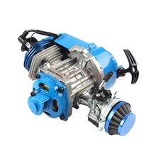 49CC двигатель алюминиевый пусковой 15 мм Карбюратор с ЧПУ воздушный фильтр Мини Мото Карманный квадроцикл Багги грязи питбайк синий