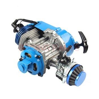 49CC motor de aluminio de arranque por cuerda 15MM carburador CNC cabeza filtro de aire Mini bolsillo para Mini ATV Quad Buggy Dirt Bike Pit Bike azul