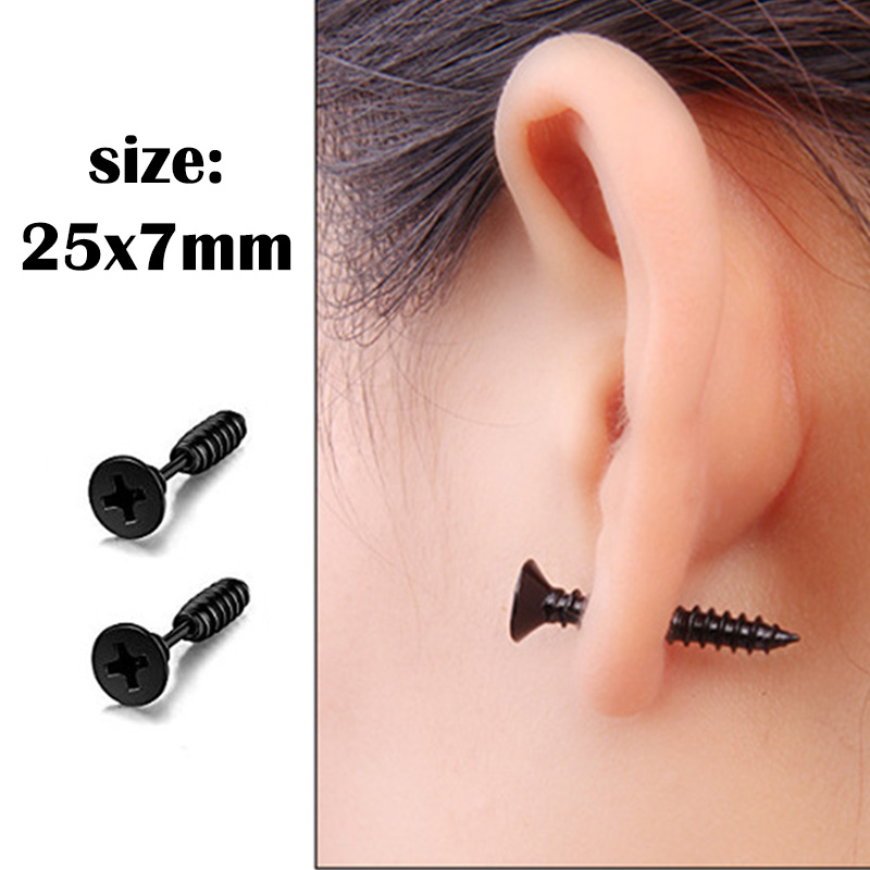 1 pair Punk Black Multiple Styles Stainless/Titanium Steel Stud Earrings For Men and Women Gothic Street Pop Hip Hop Ear Jewelry 5