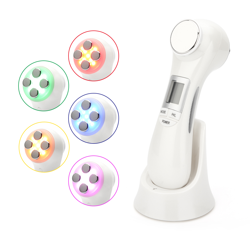 6 In 1 LED RF Photon Therapy Facial Skin Lifting Rejuvenation Vibration Device Machine EMS Ion Microcurrent Mesotherapy Massager