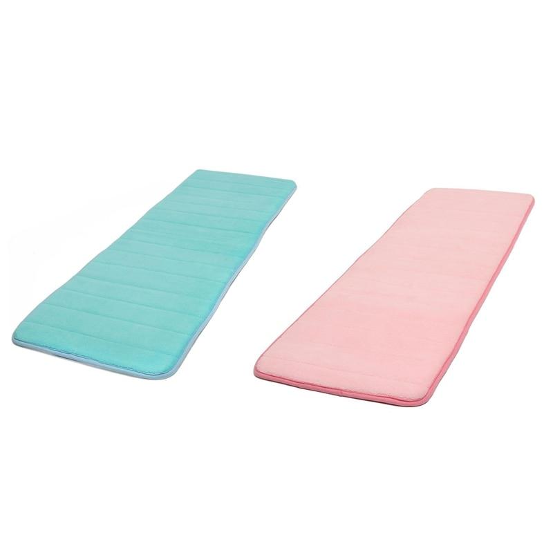 2Pcs 120X40Cm Absorbent Nonslip Memory Foam Kitchen Bedroom Door Floor Mat Rug Carpet   Blue & Pink|Carpet| |  - title=