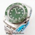 BLIGER стерильные 44 мм зеленое окно с датой набора керамический Безель большие автоматические наручные часы ментальный браслет MIYOTA движение