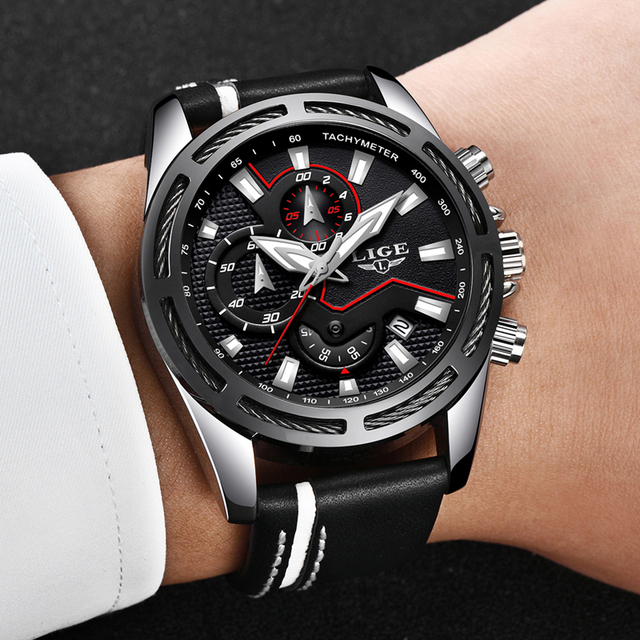 Relogio Masculio LIGE Fashion Mens Watches Top Brand Luxury Casual Sport Quartz Watch Men Leather Waterproof Military Wristwatch