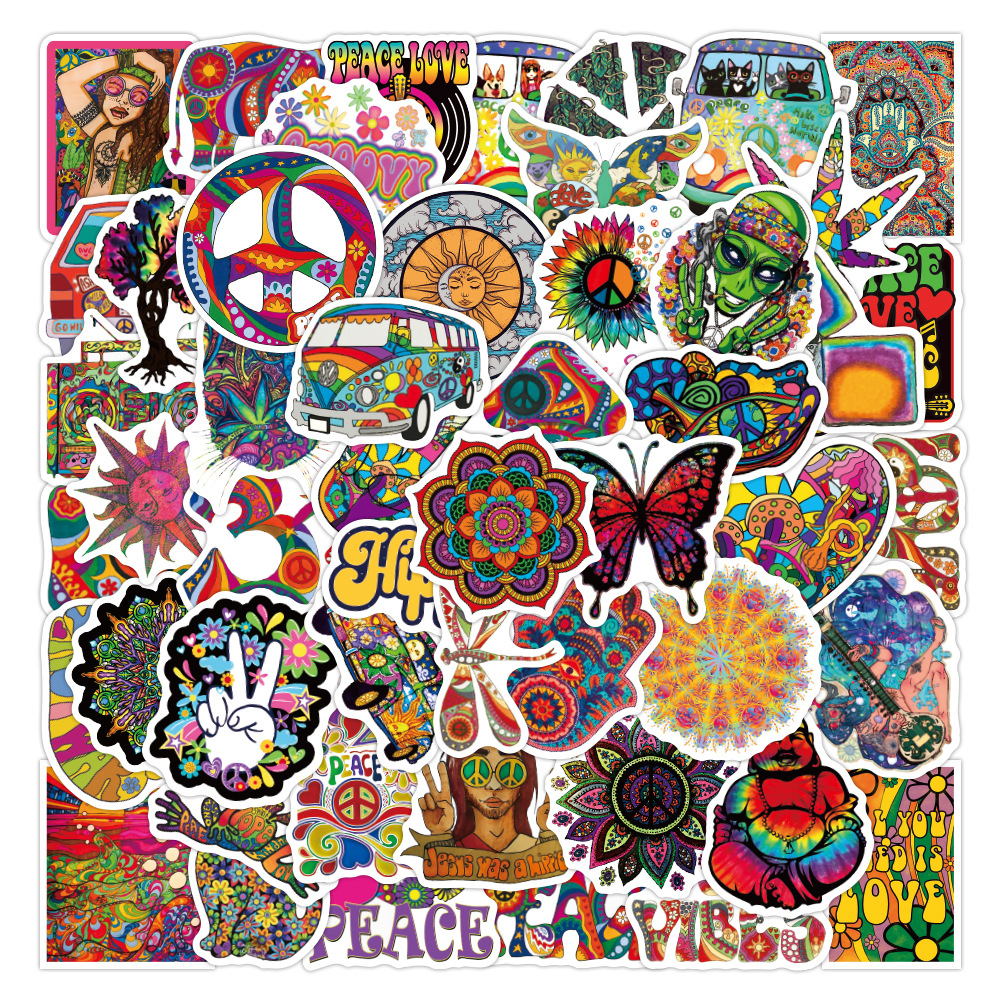 10/30/50pcs Colorful Psychedelic Hippies Love and Peace Graffiti Stickers Laptop Skateboard Suitcase Cool Decals Sticker Kid Toy