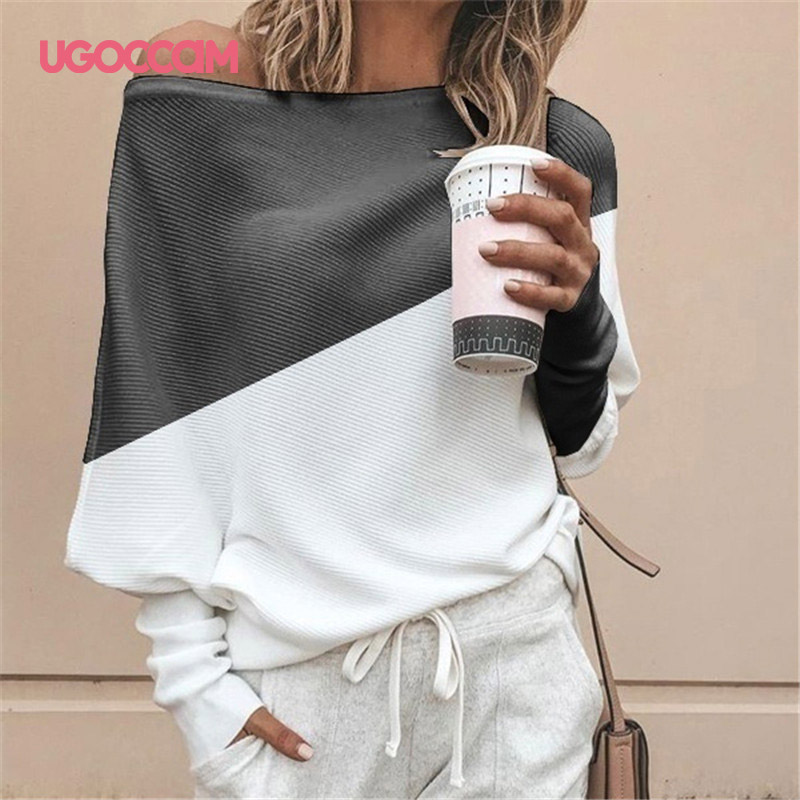 Blouse Women Long Sleeve Off Shoulder Shirt Casual Loose Women Tee Top Streetwear Plus Size Roupas Feminina