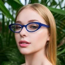 Montura de gafas de ojos de gato estrecha, ovalada, transparente, 2020