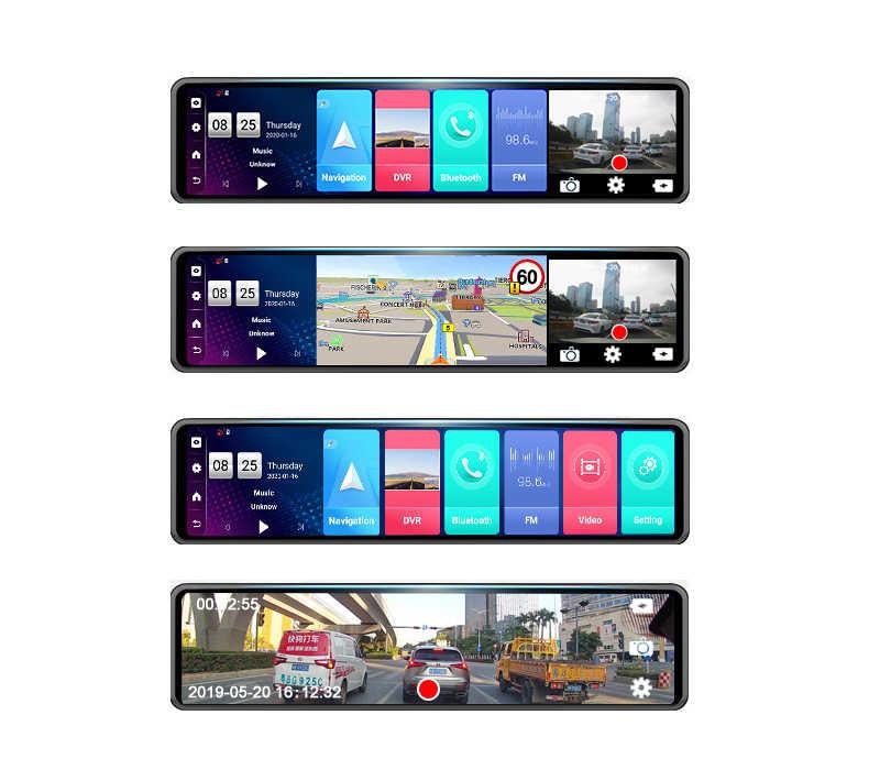 Android 4G 12 Inch Gương Chiếu Hậu Ô Tô Dòng Truyền Thông Dash Cam Dual 1080P DVR Xe Ô Tô ADAS Siêu đêm Định Vị GPS Cơ Quan Đăng Ký