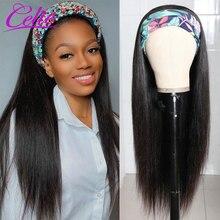 Celie 머리 머리띠 가발 스트레이트 프런트 가발 Glueless 150% 얼음 실크 스카프 머리띠 가발 인간의 머리 가발 흑인 여성을위한
