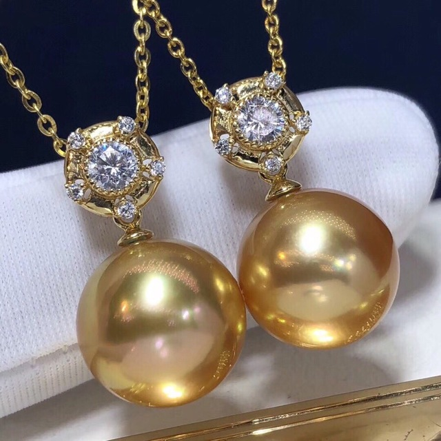 Pearl Pendant 12-13mm Fine Jewelry 18K Gold Natural Ocean Golden Pearl Pendant Necklaces for Women FIne Pearls Pendants 1