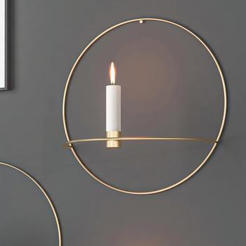 3D europa metalowy świecznik ścienny wiszący geometryczny okrągła świeca uchwyt dekoracja wnętrz świeczniki dekoracja wnętrz tanie i dobre opinie alloet CN (pochodzenie) Home Decoration Candle Holders Kinkiety Nowoczesne