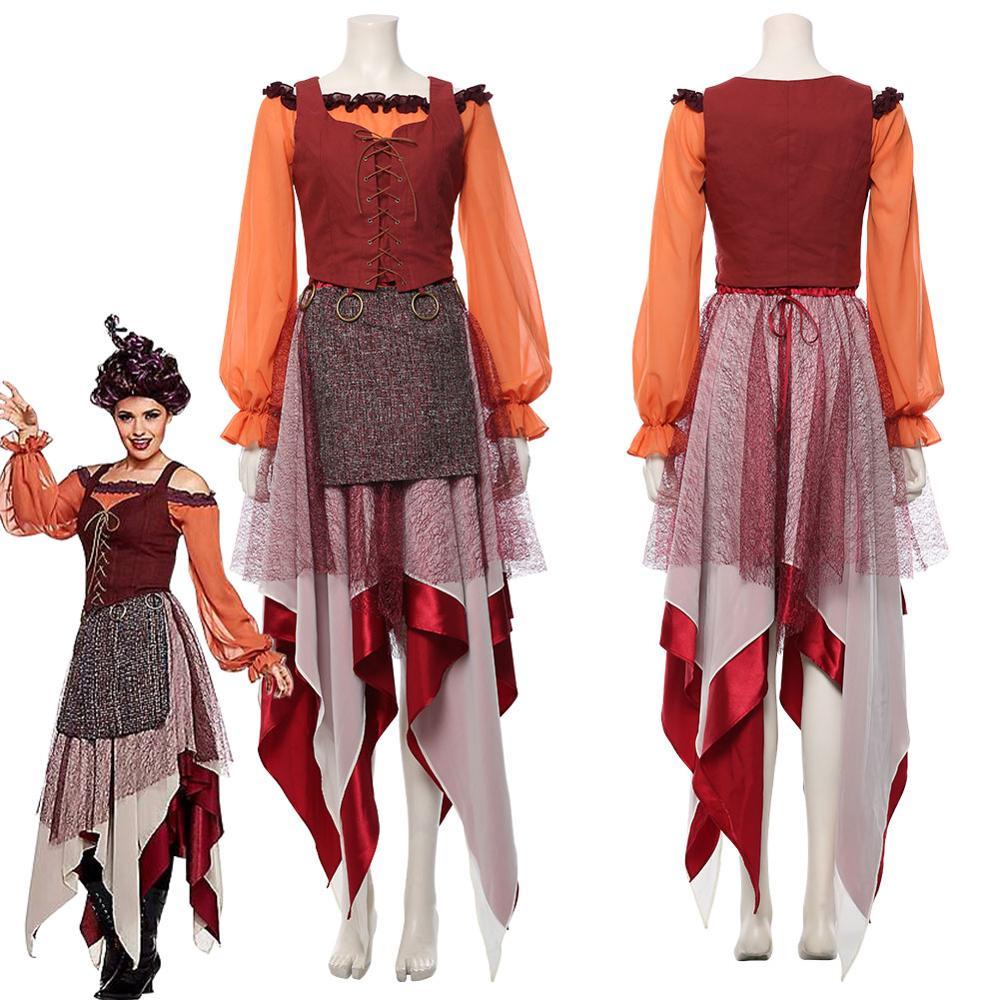 Hocus Pocus Winifred Sanderson Cosplay Costume Outfit Dress Suit Uniform