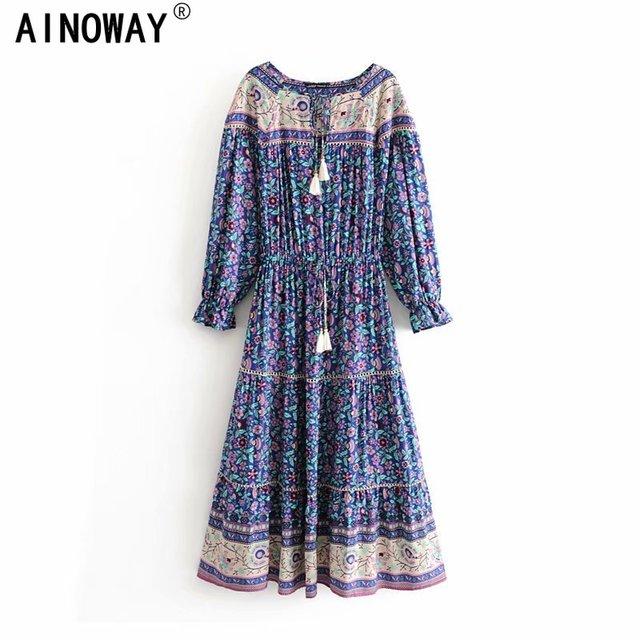 Vintage chic  Boho women Floral print tassel ruffles sleeve beach Bohemian maxi dress Ladies V neck happie dress vestidos