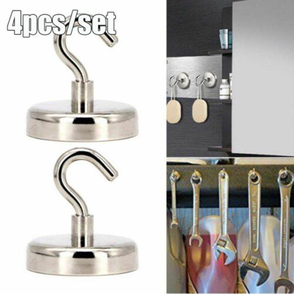 4 шт. Прочный магнитный крючки тяжелый долговечный неодимовый поверхности не царапины настенный крючки магнит полезный подвесной инструмент