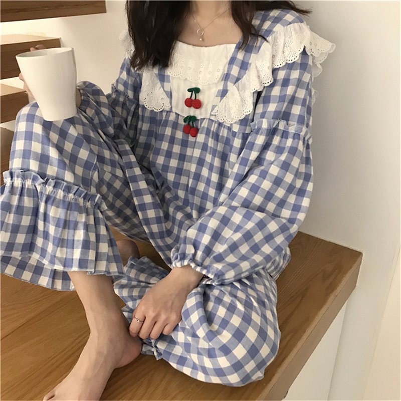 Alien Kitty Sweet Fashion Square Collar Princess Sleepwear 2020 Plaid Gentle Chic Women Loose Pajamas Suits Fresh Home Clothes