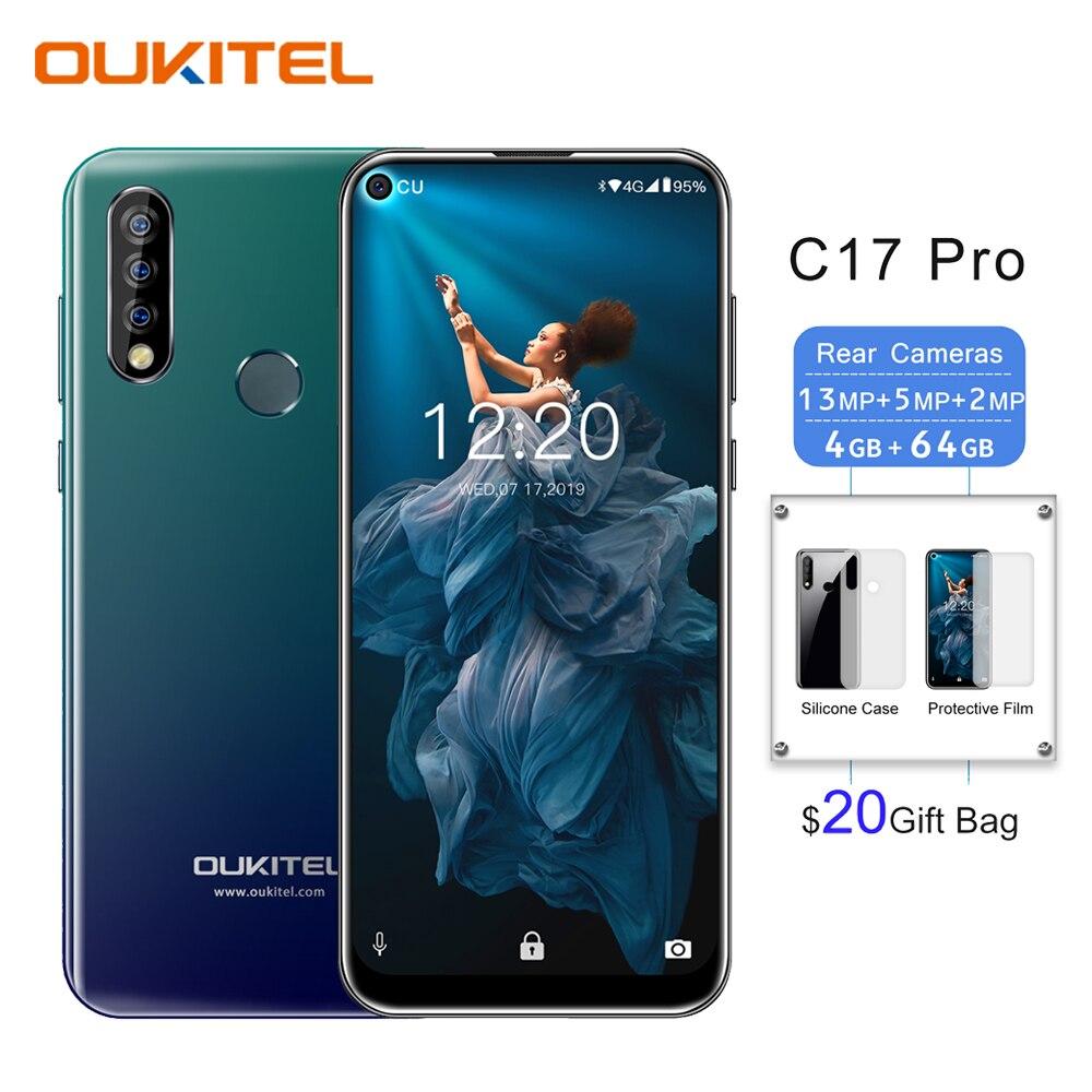 "OUKITEL C17 Pro 4G 64G Smartphone 6.35""19:9 Blind Hole Android 9.0 Mobile Phone Octa Core Triple Rear Cameras Face Fingerprint"