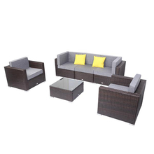 Breathable and Waterproof Cushion 6 Pieces Patio PE Wicker Rattan Corner Sofa Set