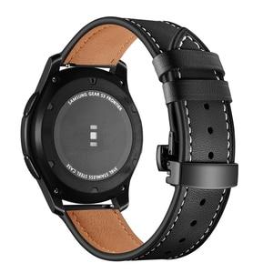Image 3 - イタリア革バンドのためのギアs3 銀河時計 46 ミリメートル 22 ミリメートル時計バンドブレスレットhuawei社腕時計gtストラップ蝶バックル 46