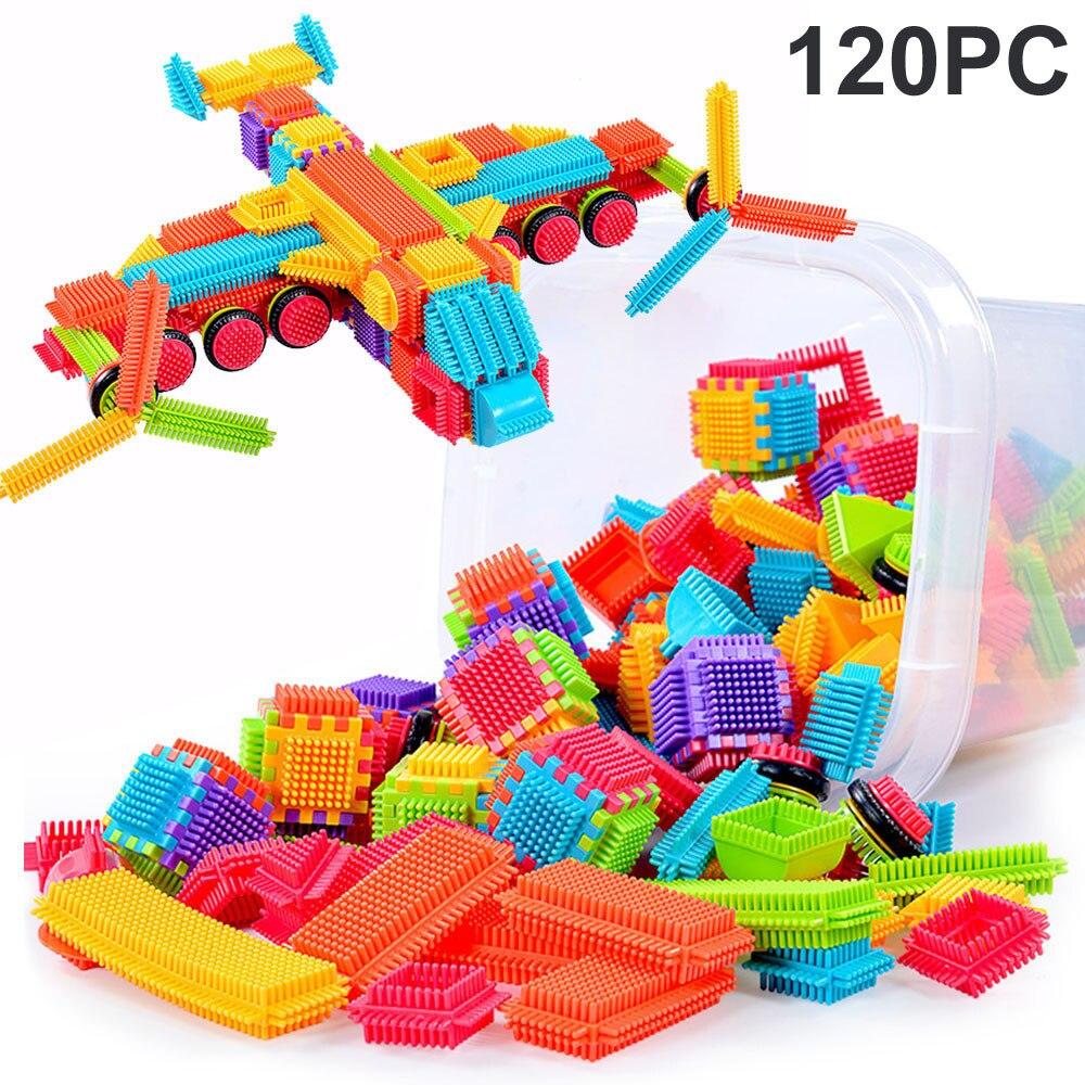 Education For Kids Fun Learning Toys For Children 120pcs Bristle Shape 3D Building Blocks Tiles Construction Playboards ToysW807