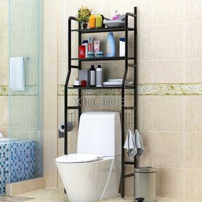 Étagère de toilette en métal | Pas de perforation, étagère de toilette Type de sol, rangement de shampooing serviette, étagère accessoires, salle de bain, Machine à laver, étagère organisateur