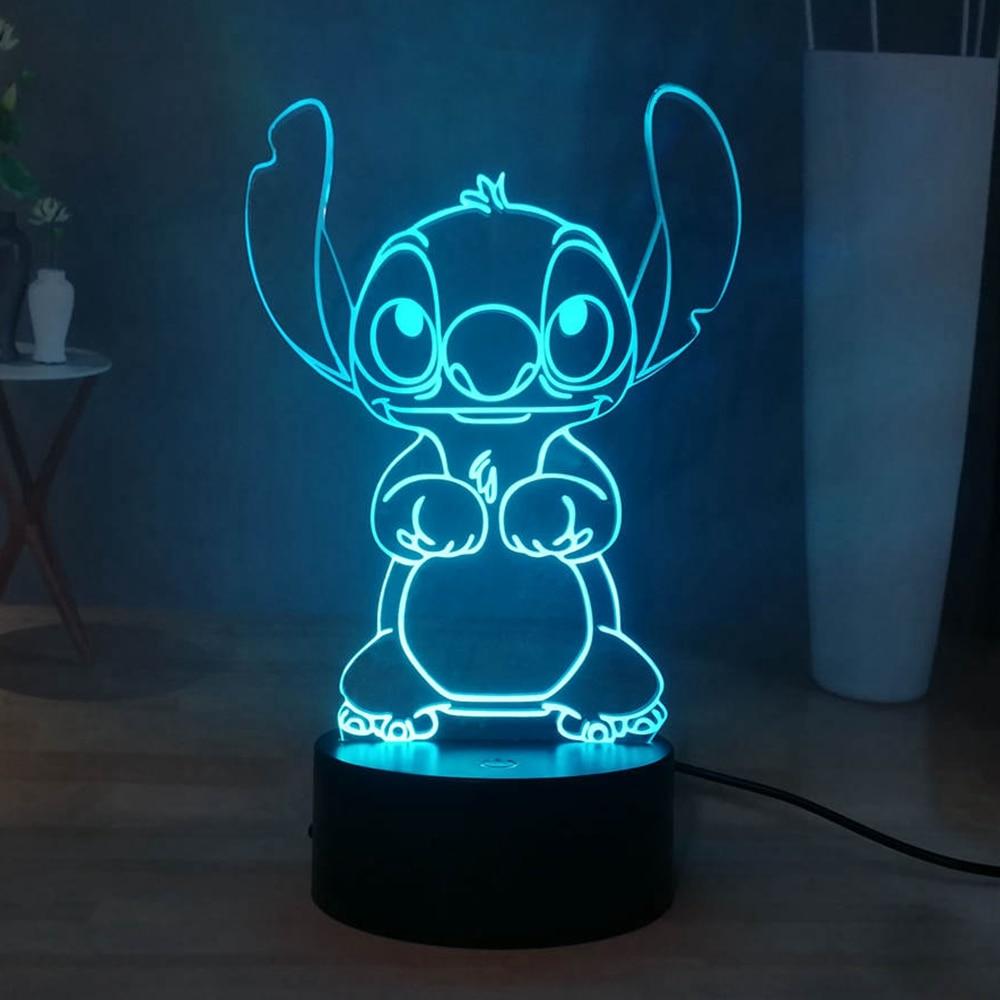 Cute Stitch LED Night Light Cartoon Acrylic RGB Multicolor USB 3D Illusion Bedside Sleep Night Lamp Best Gift Free Shipping