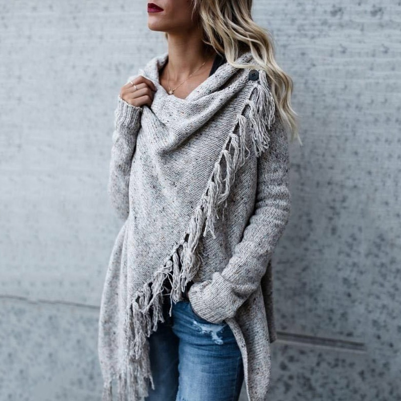 Vicabo Women Fashion Tassel Hem Sweater Cardigans Autumn Spring Knit Irregular Long Sleeve Solid Color Poncho And Capes
