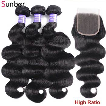Sunber Hair Body Wave Human Bundles With Closure Malaysian Weave High Ratio Remy 3 - discount item  45% OFF Human Hair (For Black)