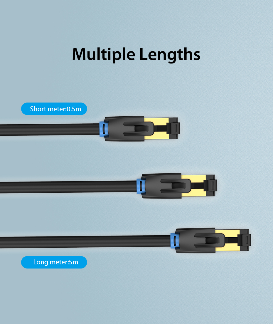 IsMyStore: Vention Cat8 Ethernet Cable RJ45 SFTP Patch Cable for Computer Networking Laptop Router Modem 0.5m/1m/1.5m/2m/3m Lan Cords Cable
