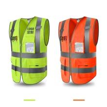 1 шт. оранжевый защитный жилет с высокой видимостью для спецодежды с 4 карманами класс 2 высокая видимость молния спереди и светоотражающие полосы