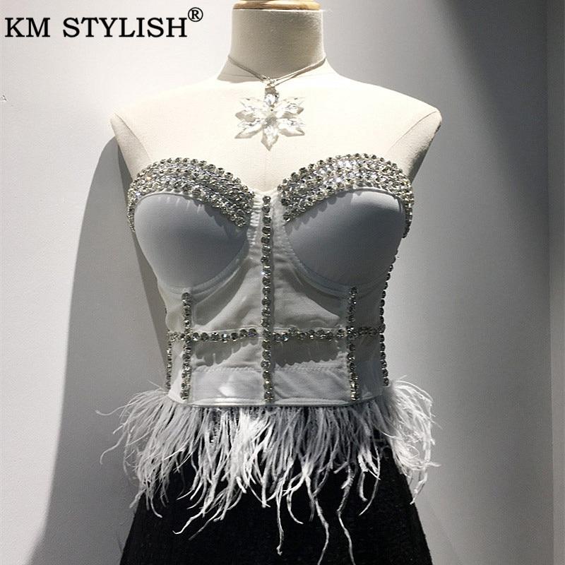 Haut court femmes dentelle Camis licou maille Camisole 2019 automne strass plume Bottoming sangle ombilical haut femme noir blanc
