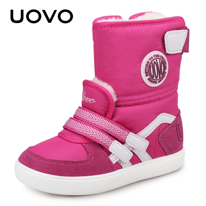UOVO 2019 Water Repellent Kids Boots Fashion Snow Boots Children Winter Shoes Beatiful Girls Short Boots With Fur #26-39
