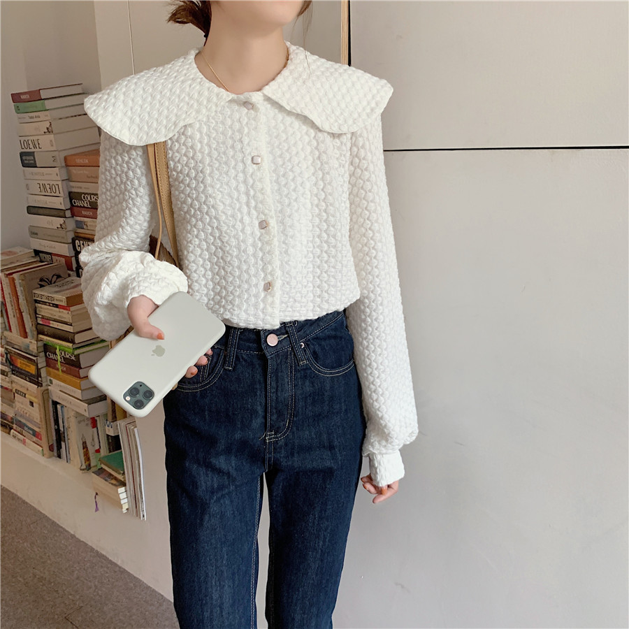 H670d67d8686b4a91aa4849194684f2b09 - Spring / Autumn Big Lapel Long Sleeves French Lace Buttons Blouse