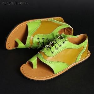 Karinluna/Новое поступление 2020 года; Прямая поставка; Сандалии-гладиаторы; Женская обувь с открытым носком на плоской подошве; Летняя обувь на шнуровке; Женские босоножки