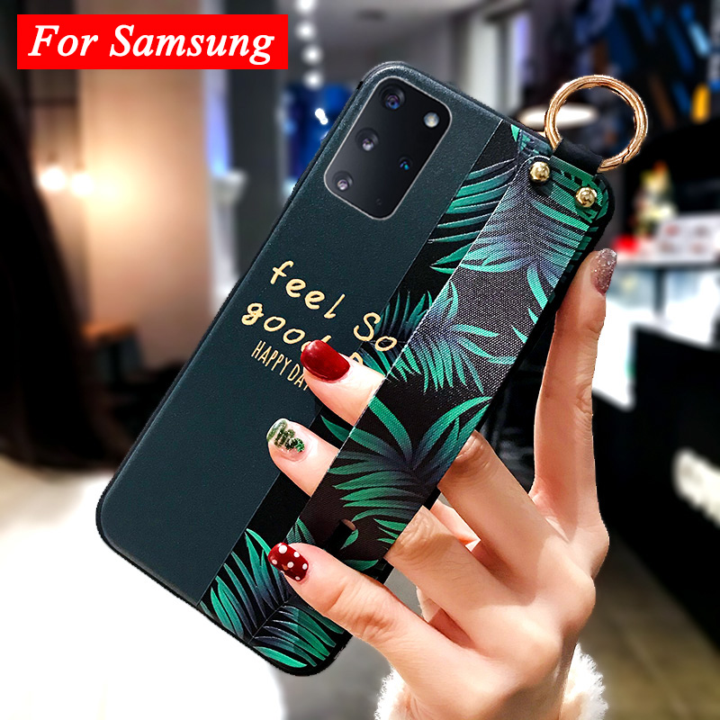 Galaxy S20 Ultra étui en relief mode fleur feuille bracelet support couverture pour Samsung A51 A71 S20 + A41 Note 10 Lite A31 S10 Lite