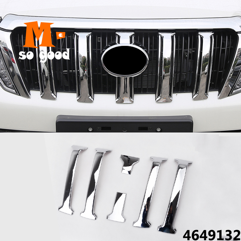 ABS Chrome Car-styling for <font><b>Toyota</b></font> <font><b>Prado</b></font> J150 GX GXL Land Cruiser <font><b>Accessories</b></font> Front Mesh Grille Cover Trim 2014 2015 <font><b>2016</b></font> 2017 image