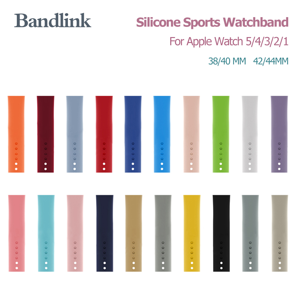 Band For Apple Watch Series 5/4/3/2/1 38MM 40MM Soft Silicone Sports Band For Iwatch Series 4/5/3 Rubber Watchband 42MM 44MM