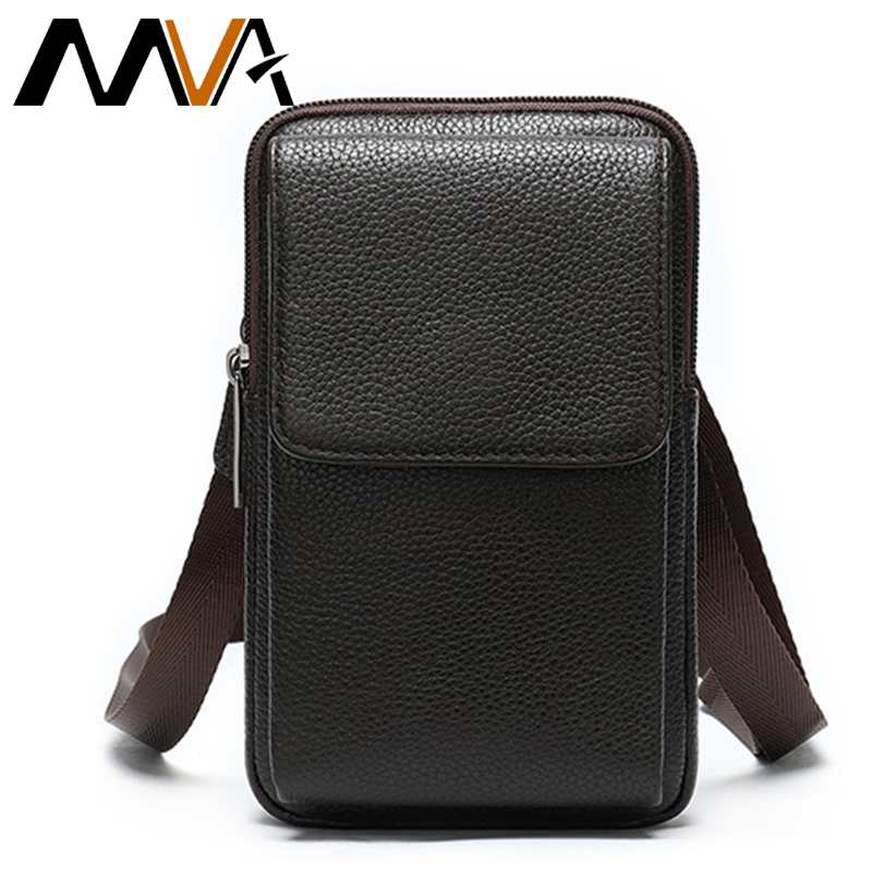 MVA Cowhide Leather Men's Waist Bags Male Fanny Pack Leather Bag Belt Men Small Travel Waist Pack For Phone Men's Belt 889
