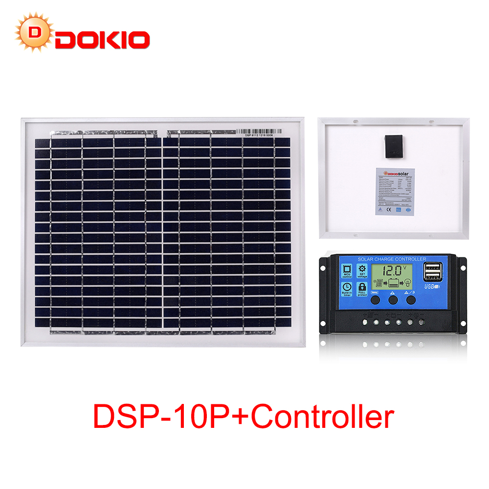 Dokio Brand 10W Black Solar Panel China + 10A 12V 24V Solar Controller 18V Panel Solar 10 Watt Charger Regulator Solar Battery image