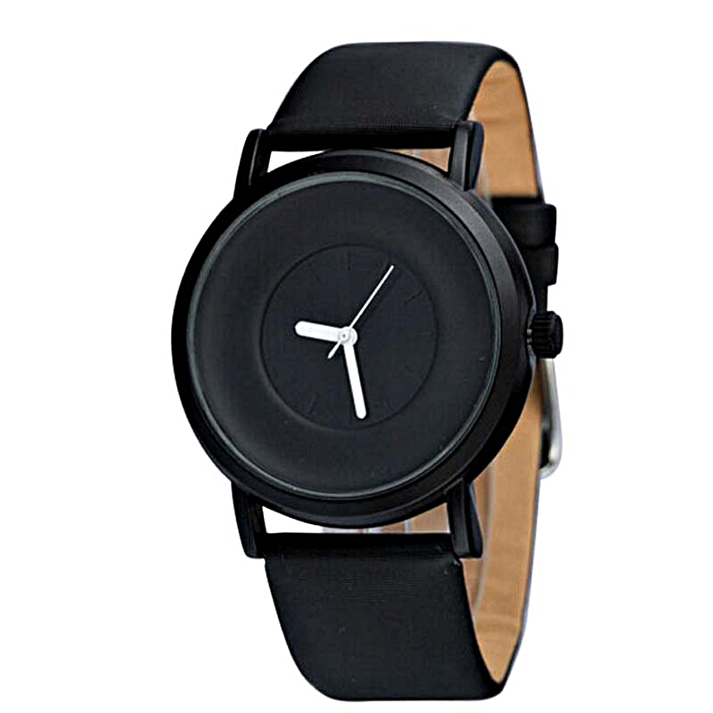 Wholesale Black Watches 2020 Men Faux Leather Quartz Watches Mens Minimalist Watches No Logo Watches Men Simple Business Watches