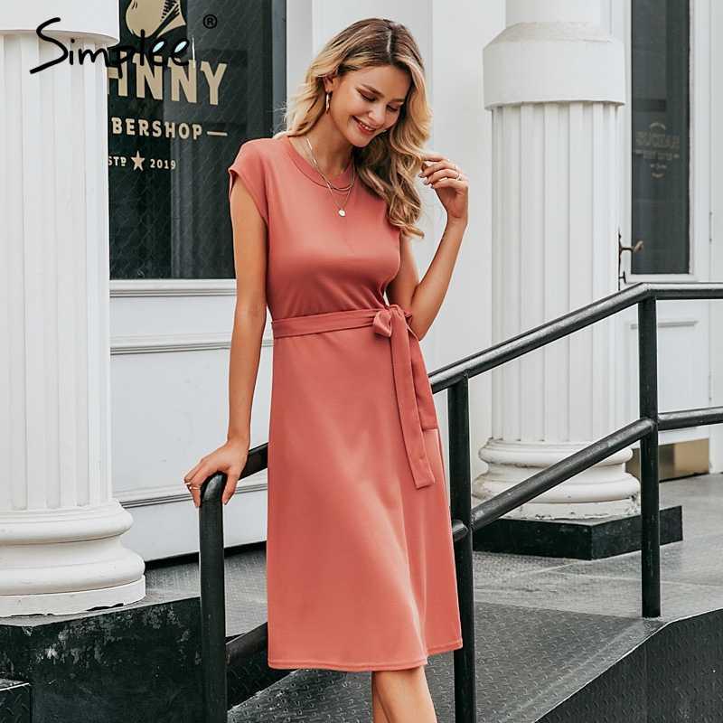 Simplee A ライン女性ニットセータードレス、エレガントな半袖ベルト冬のドレス o ネックソリッドシース秋女性ミディドレス