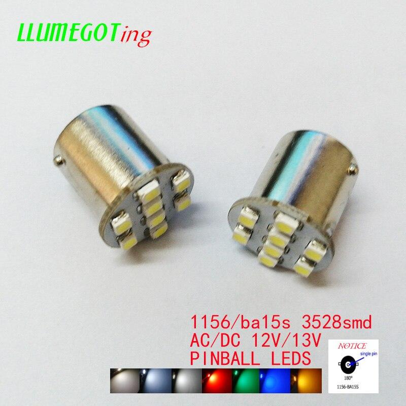50 pces 1156 ba15s #89 base com 8x smd3528 vária cor disponível não polaridade ac dc 12v 13v pinball jogo máquina lâmpadas led