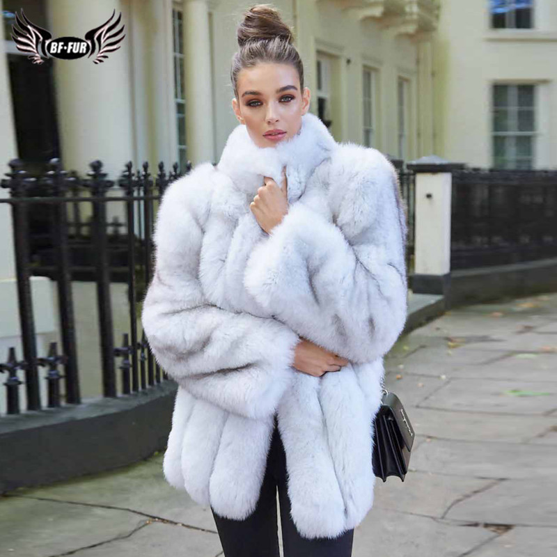 Natural Fox Fur Coat Women Winter Warm Real Fox Fur Coats Stand Collar Full Pelt Genuine Fur Jacket Woman Overcoat Plus Size